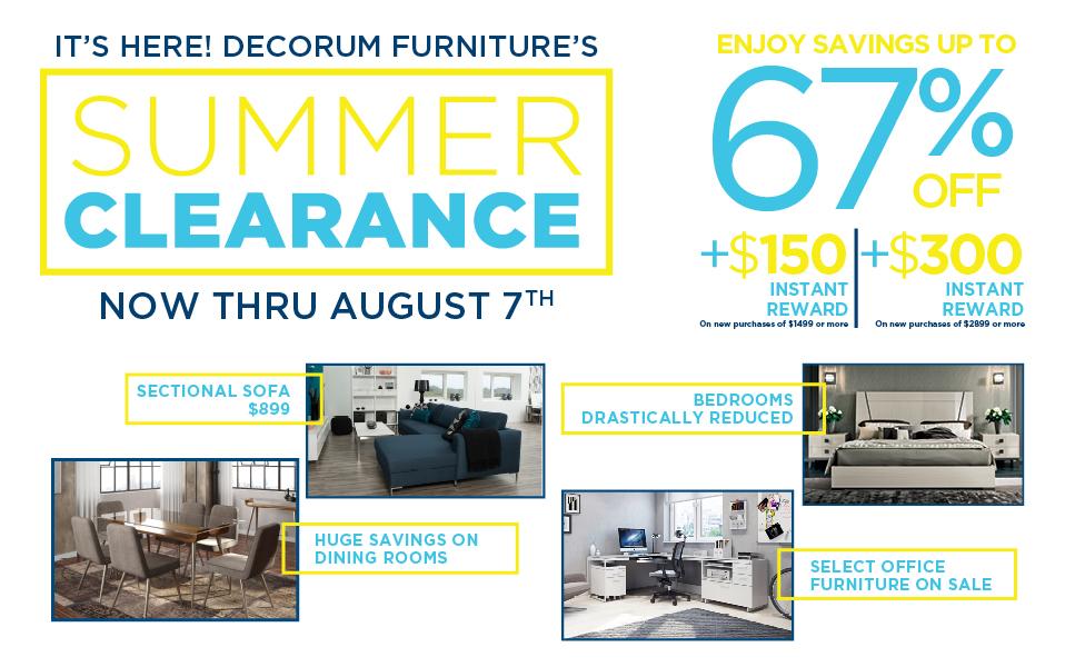 Decorum Furniture Clearance Sale 2017